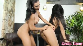 Breasty n Hung T-Girls Yasmin Dornelles and Estela Duarte Play with Bananas
